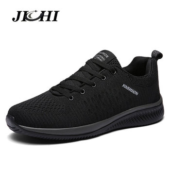 JICHI Comfortable Men's Sneakers Breathable Men Shoes Lightweight Walking Shoes Black Lace-Up Running Shoes Men Sneakers Zapatos