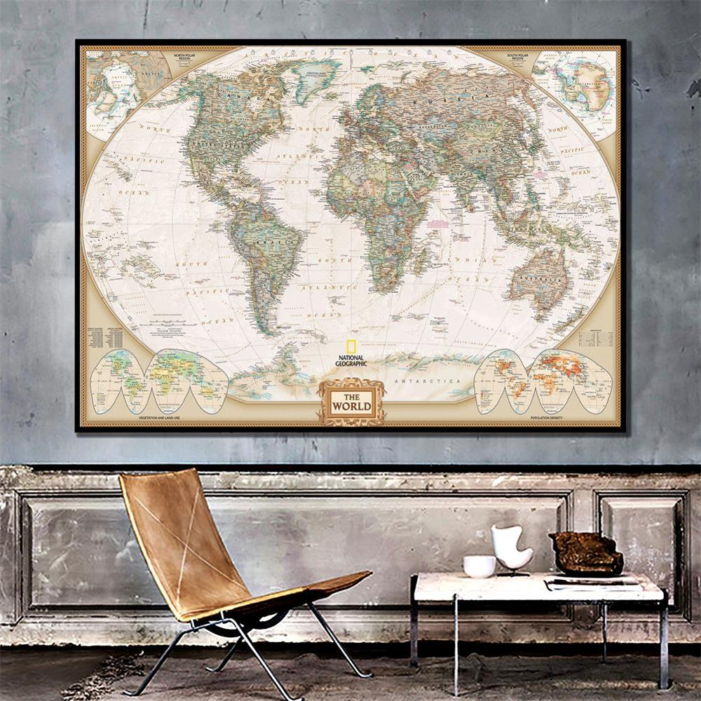 HD Printed The World Physical Map 150X100cm Unframed Non-woven Map  For Geographical Research