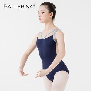Image 4 - Ballerina Ballet Leotards For Women Yoga Sexy aerialist Dance Costume mesh gymnastics Sleeveless Leotards 2518