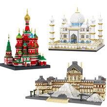City Architecture Paris France Musée du Louvre Micro Building Blocks Taj Mahal Saint Basil's Cathedral Museum Diamond Brick Toys