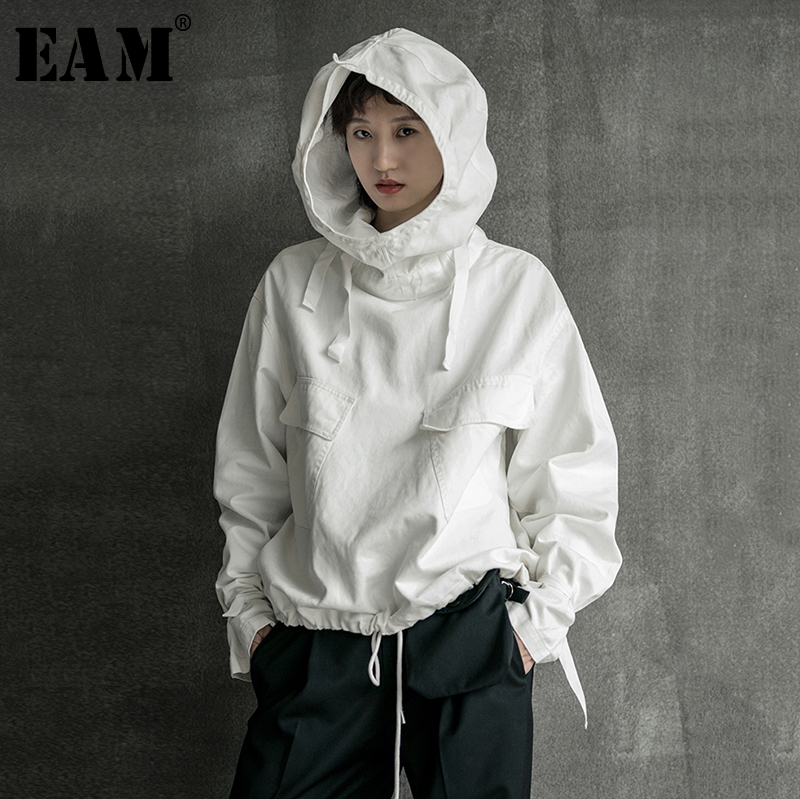 [EAM] Loose Fit Drawstring Spliced Sweatshirt New Hooded Long Sleeve Women Big Size Fashion Tide Spring Autumn 2020 1B752