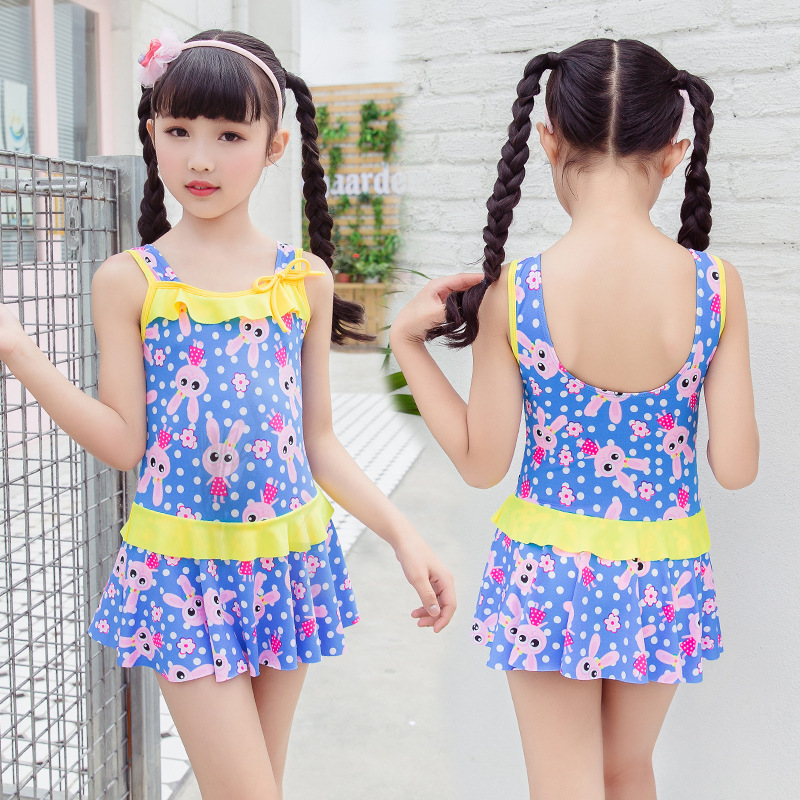 Adorkable Cute Children U-Shaped Backless Siamese Swimsuit Comfortable Fashion Girls Hot Springs Bathing Suit 8-11-Year-Old