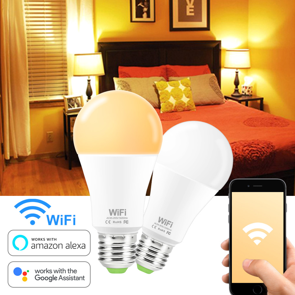 Dimmable WiFi Smart Light Bulb LED Lamp 15W E27 B22 White / Warm White Smart Life Wireless Control Works with Alexa Google Home