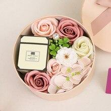 Caja de regalo de Europa Vintage romántica perfumada Rosa pétalo jabón corporal para baño para regalo de San Valentín boda rústica amor artesanías # G