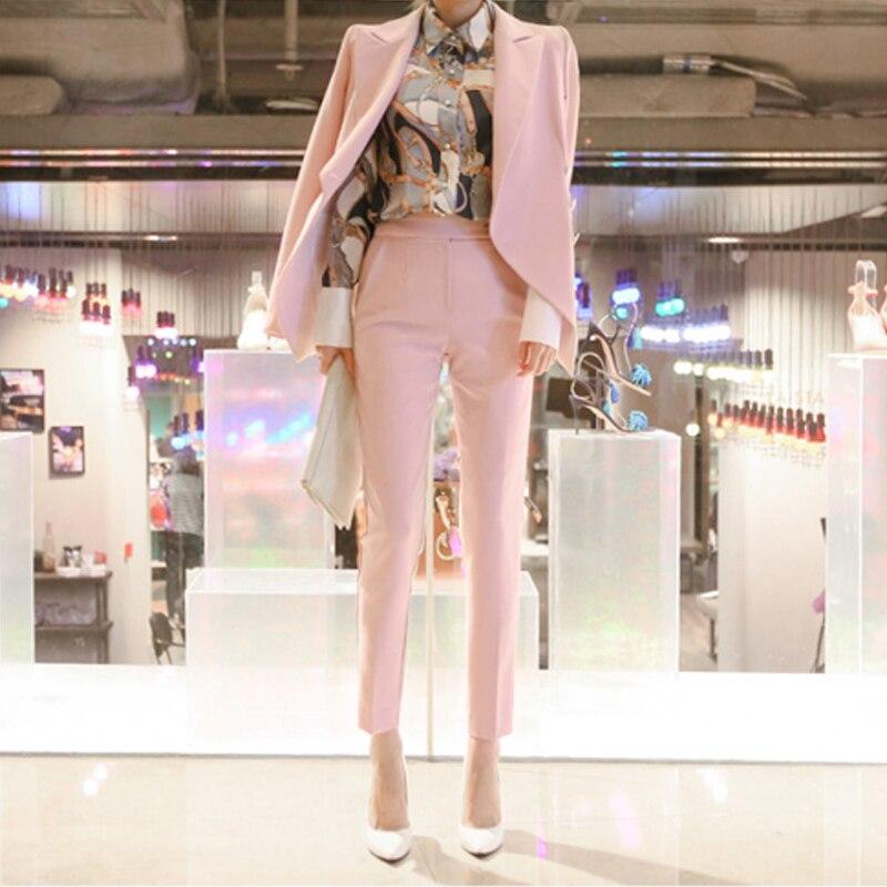 Fashion Business Pant Suits Uniform Formal  Jacket and Long Pant  Blazer Set Women OL 2 Two Pieces Suits