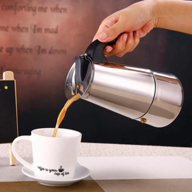 Pote de café Coador Cafeteira Expresso Cafeteira Moka Espresso Italiano Topo 100/200/200/450 ML Stovetop cafeteira Pote