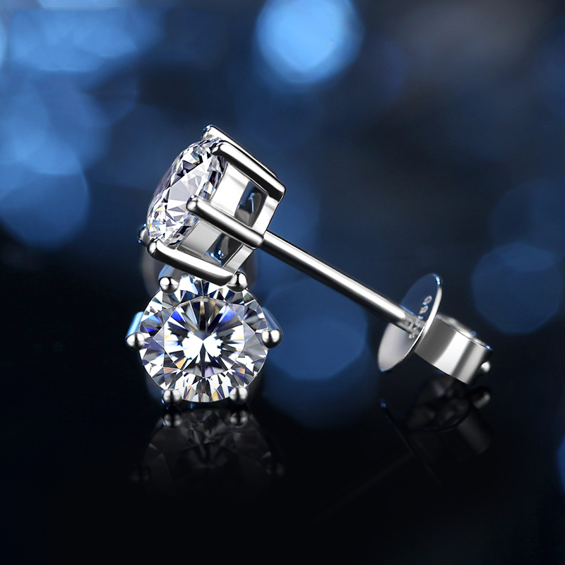BOEYCJR 925 Silver 0.5/1ct F Color Moissanite VVS Fine Jewelry Diamond Stud Earring With National Certificate For Women Gift