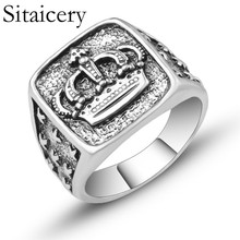 Sitaicery Fashion Hip Hop Star Cross Crown Ring Men Accessories Vintage Punk Rock Big Biker Signet Ring Antique Silver Jewelry oulai777 signet ring men tainless silver jewelry signet ring men s punk finger fashion hip hop gothic ring men accesories