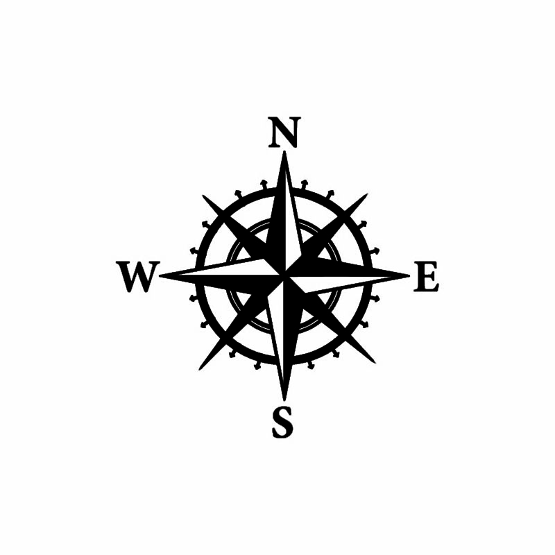 Car and Motorcycle Sticker Creative Compass Decal NSWEPVC Reflective Waterproof Sunscreen Car Decoration Sticker,15cm*15cm