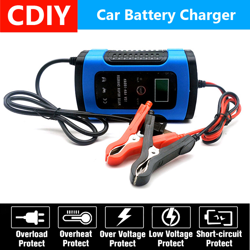 12V 6A LCD <font><b>Smart</b></font> Fast <font><b>Car</b></font> <font><b>Battery</b></font> <font><b>Charger</b></font> for Auto Motorcycle Lead-Acid AGM GEL <font><b>Batteries</b></font> Intelligent Charging 12 V Volt 6 A AMP image