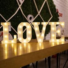 16/22cm diy luzes luminosas led carta luz da noite criativo alfabeto número bateria lâmpada romântico festa de casamento decoração