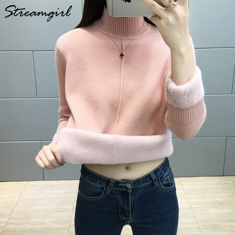 Black Turtleneck Sweater Women Winter Warm Blue Thick Velvet Winter Woman Sweater Knitting Pullovers Women Turtleneck Jumper
