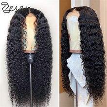 Zesen preto longo peruca de água encaracolado preto 13*4 peruca dianteira do laço perucas sintéticas do laço para as mulheres pré arrancadas com linha fina natural