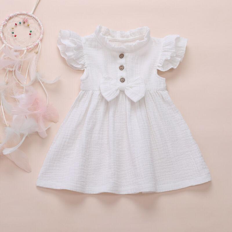Baby Girls Summer Ruffled Sleeve Linen Party Princess Toddler Kids Solid Dress