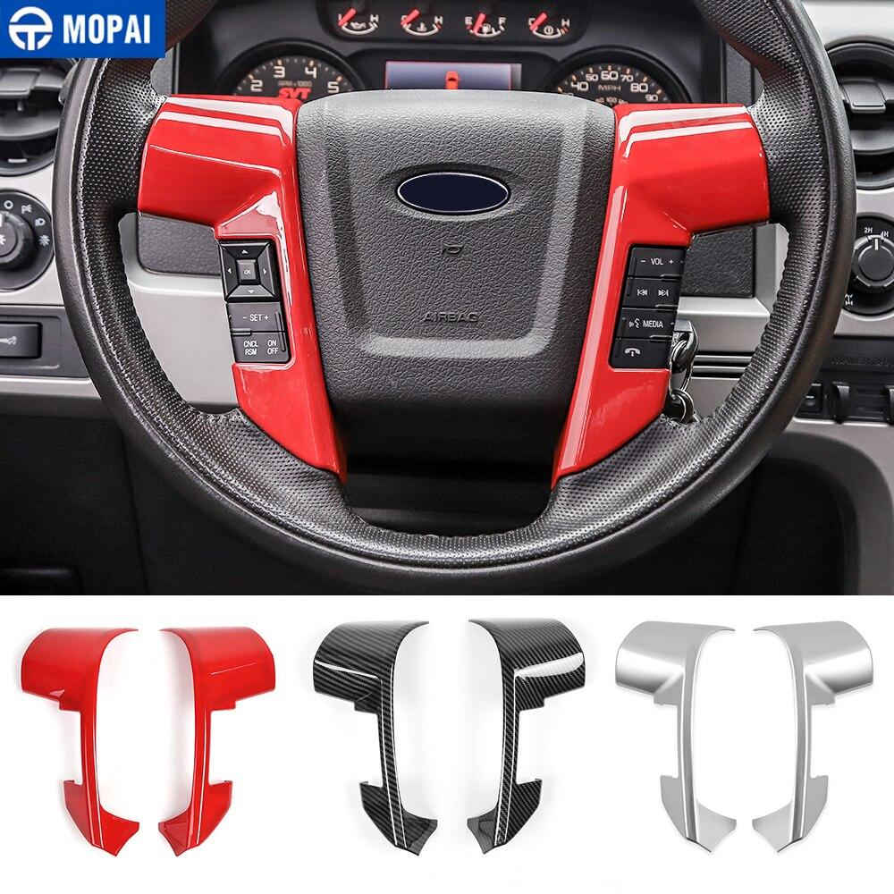 Carbon Fiber Car Steering Wheel Trim Cover Frame Interior Accessories for 2009-2014 Ford F150 SVT Raptor