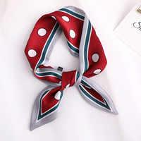 2020 HOT SALE Women Dot Print Silk Scarf Small Handle Bag Ribbons Female Bufanda Head Scarves Wrap For Lady RED 90*10cm