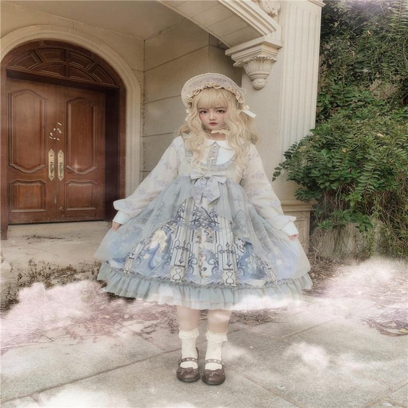 Palace princess sweet lolita dress vintage peter pan collar high waist printing victorian dress kawaii girl gothic lolita op cos
