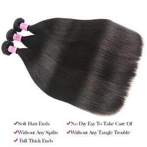 Image 3 - Unice cabelo malaio extensão do cabelo reto 8 30 Polegada cor natural feixes de cabelo humano 100% remy tecer cabelo 1/3/4 peças