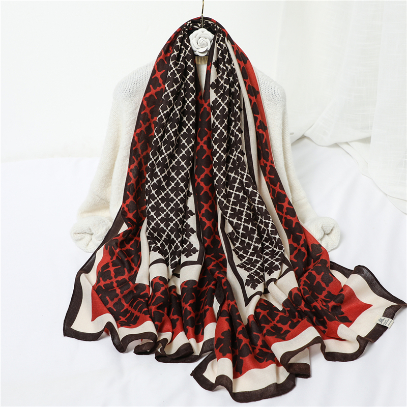 Luxury Brand Women Cotton Hijab Scarf Shawls Lady Wraps Print Foulard Headband Pashmina Travel Beach Scarves 2020 Designer