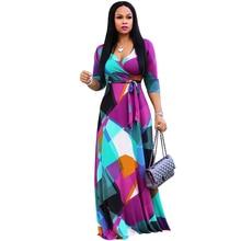 Quality Fashion Women Chiffon Print Maxi Dress Plus Size Sexy Deep V-Neck Three Quarter Sleeve Sashes Autumn Long Dress Vestidos plus deep v neckline fluted sleeve geo print dress