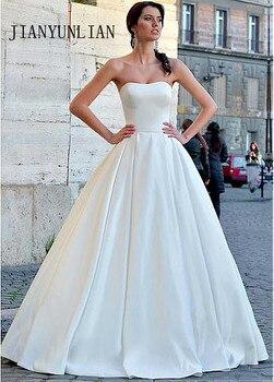 2020 New Arrival Strapless A-Line Wedding Dress Ruched Satin Gowns Floor Length Bridal Dress Lace up Vestidos De Noiva