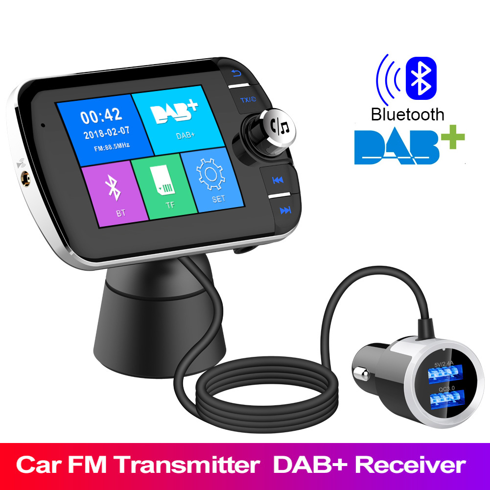 Car Radio DAB+ Radio Tuner Digital Broadcasting Receiver with FM Transmitter Converter Plug and Play Adaptor USB Charger