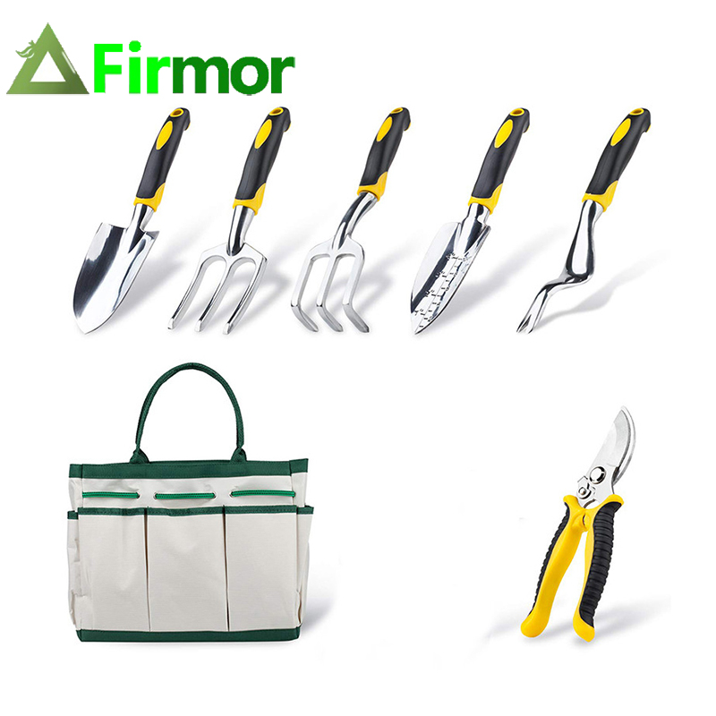 FIRMOR 6 Pcs Garden Tools Set Including Pruning Shears Trowel Cultivator Weeding Fork Weeder And Secateur With Carry Bag