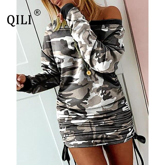 Купить qili женское платье с длинным рукавом и принтом на завязках картинки цена