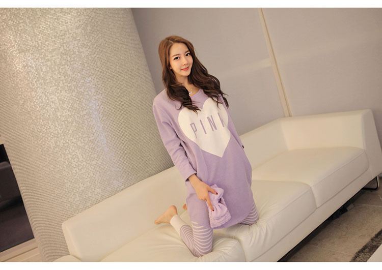 2018 Spring And Autumn New Products Pink Pajamas Women Long Sleeve Large Size Loose-Fit Women's Home Wear Two Pieces