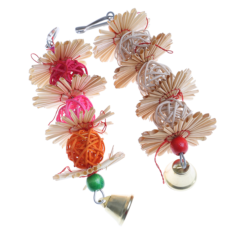 Colorful Parrot Chew Strands Bite Teeth Griiding Ball Bell Attractive Bird Parakeet Toys
