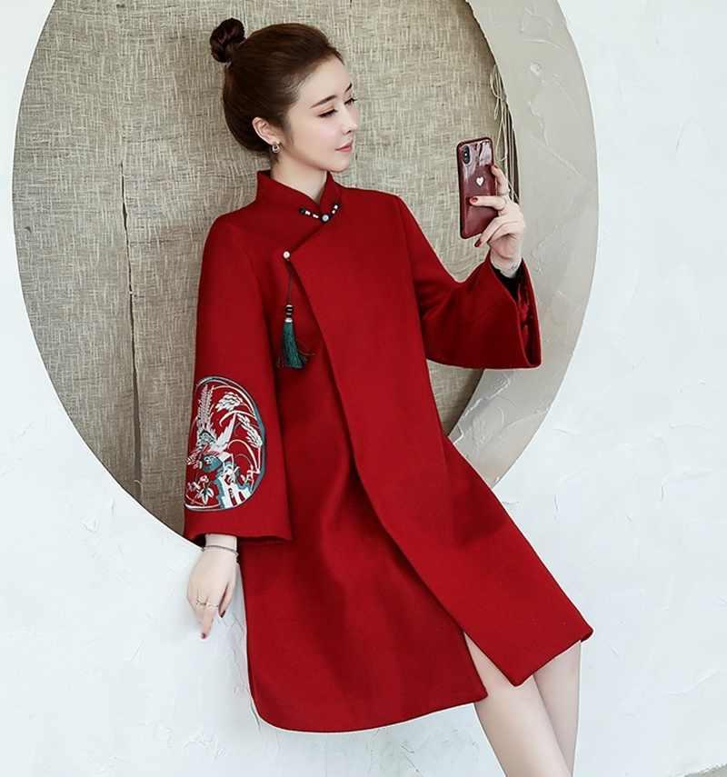 Kırmızı Cheongsam elbise sonbahar ve kış çin tarzı Retro zarif Modern Qipao elbise 2019 kadın yeni yıl artı boyutu Xl 5Xl FF2285