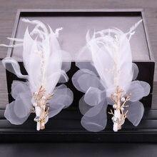 FORSEVEN-diademas de perlas de imitación de seda, plumas, 1 par, horquillas con Clips, novia, novia, boda, fiesta, joyería para el cabello