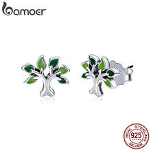 BAMOER 100% 925 Sterling Silver Tree of Life Stud Earrings Tree Leaves Leaf Earrings for Women Fashion Silver Jewelry SCE409(China)
