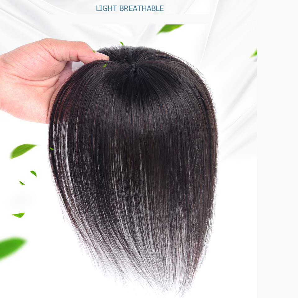 WTB Top Piece Closure Toupee Straight Synthetic Protein Silk Hair Hand-made Natural Black Topper Hairpiece With Bang Hair Piece