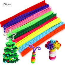 100pcs Chenille Wire Plush Stems Iron DIY Art Craft Sticks Party Decor Pipe Cleaner 6mm X 12inch Assorted Colors