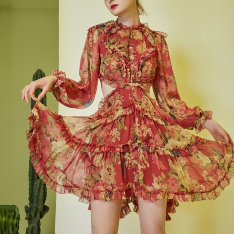 Fannic Casual Print Women Dress Stand Lantern Sleeve Backless Bandages Ruffles Loose Mini Dresses Female Fashion 2019 Spring in Dresses from Women 39 s Clothing