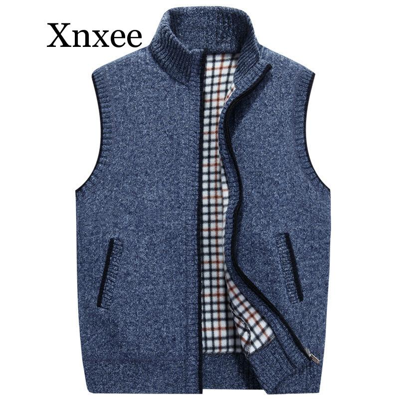 Autumn Winter Men's Wool Sweaters Vest Coat Male Sleeveless Knitted Vest Jacket Solid Fleece Sweatercoat Plus Size 3XL