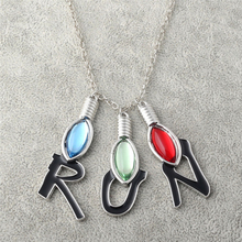 Fashion Bulb Letter RUN Pendant Necklaces Movie Stranger Thing Terror Jewelry Long Chain Accessories YT15