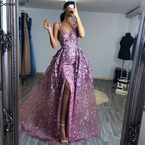 Image 5 - 2020 Pink Sleeveless Handmade Flowers Evening Dresses Crystal Sexy Luxury Tulle Evening Gowns Real Photo LA60717