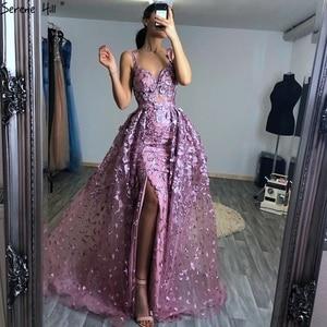 Image 5 - 2020 różowy bez rękawów ręcznie robione kwiaty suknie wieczorowe kryształ Sexy luksusowe Tulle suknie wieczorowe Real Photo LA60717