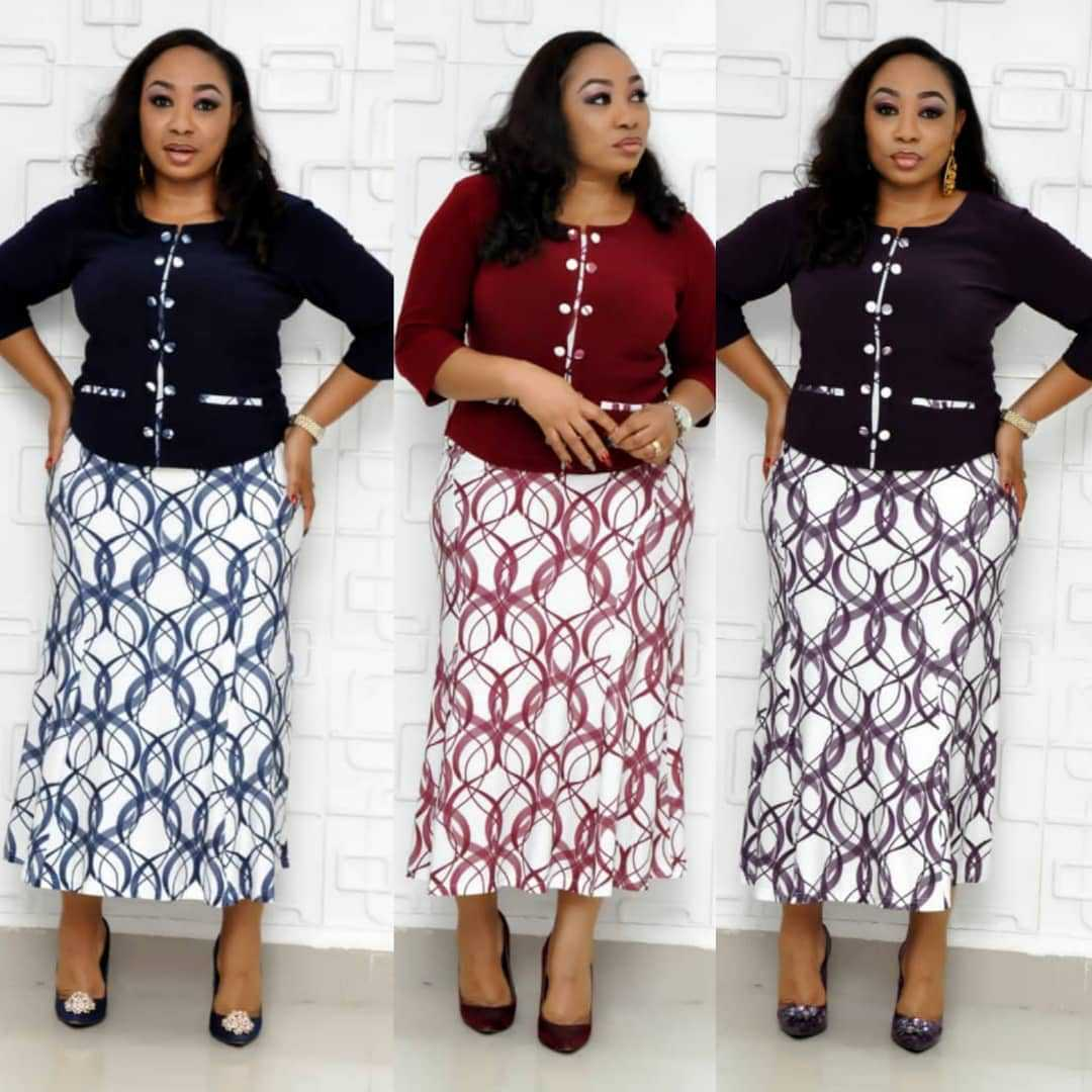 2019 Autumn Elegent Fashion Style African Women Printing Plus Size Two Pieces Sets Top And Skirts XL-5XL