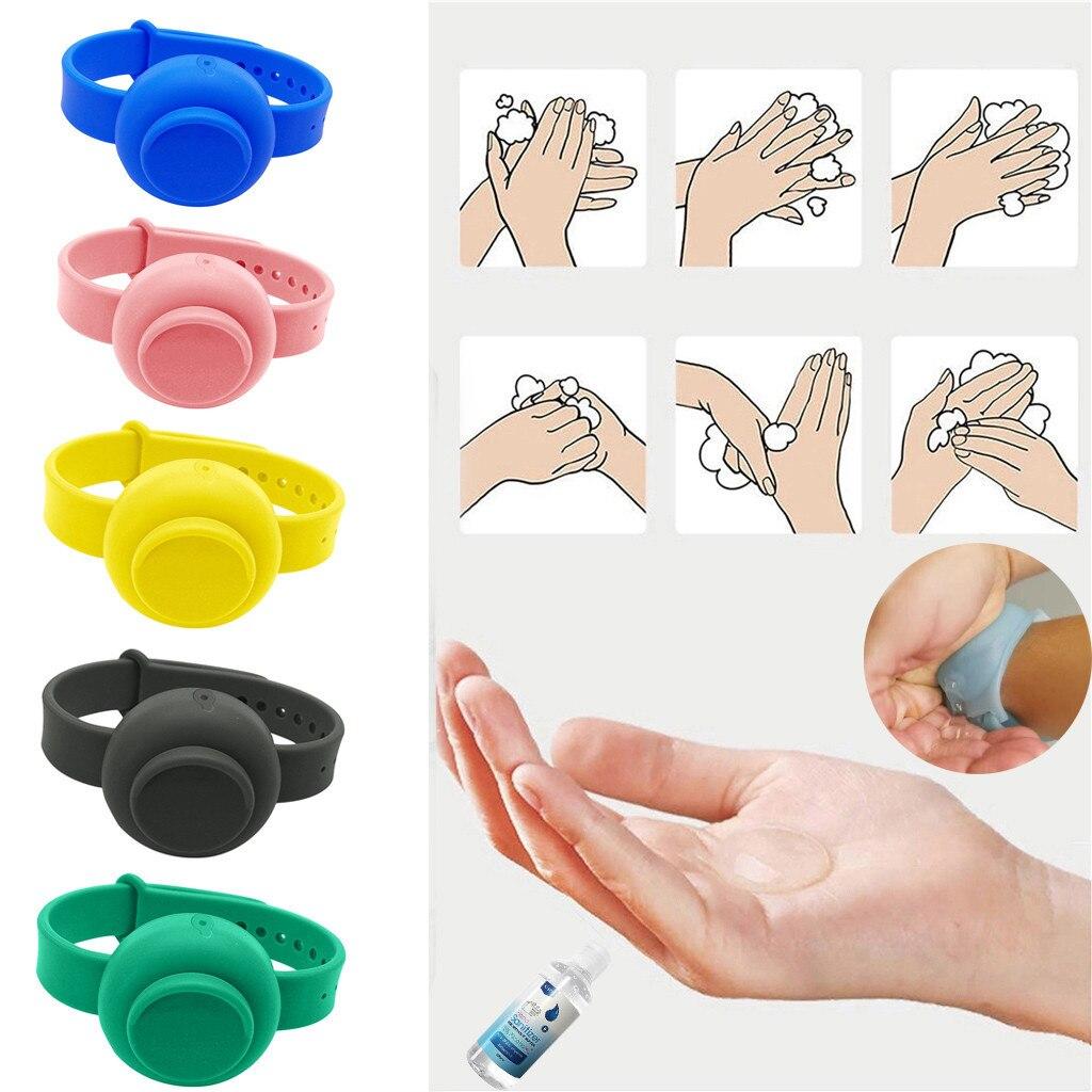 6PC Adult Kid Sanitizer Bracelet Wristband Hand Dispenser Handwash Gel With Sanitizing Hand Sanitizer Silicone Bracelet J50
