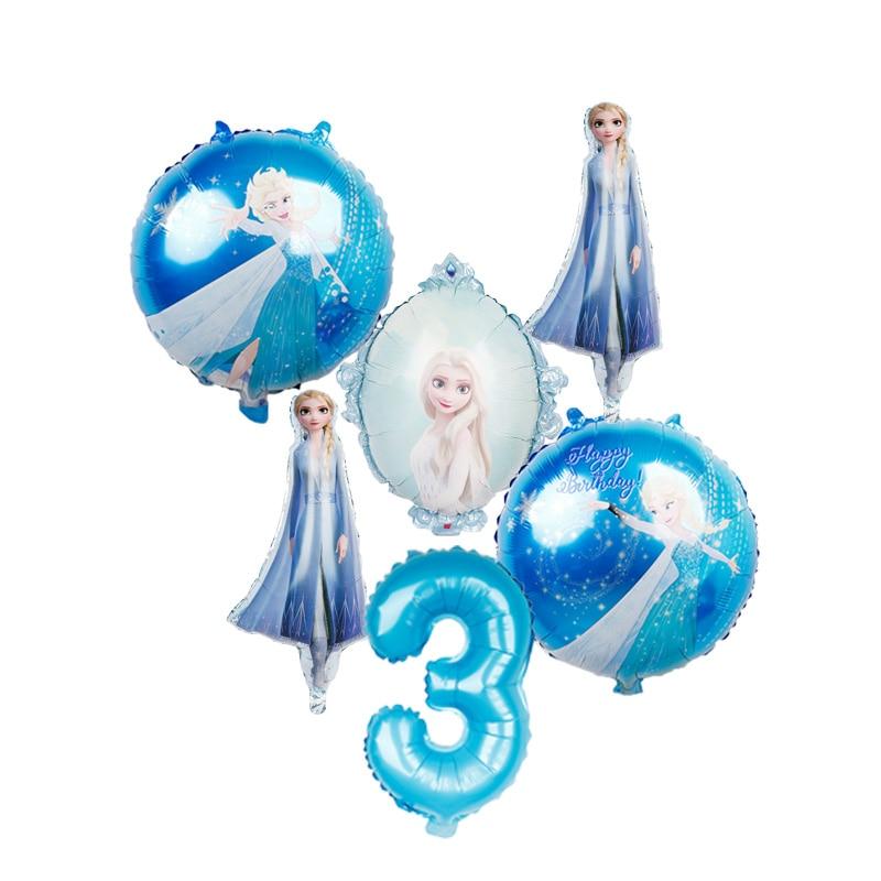 6pcs16inch número elsa anna disney congelado princesa balões de hélio da folha do bebê globos festa de aniversário decorações crianças brinquedos