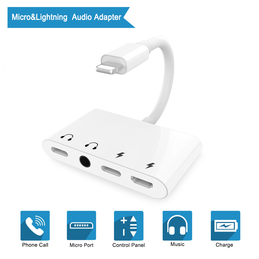 MCSE 4 In 1 For Lightning To 3.5mm Headphone Port Splitter With Micro Charging Port Audio Adapter For IPhone 7/8/X/XS