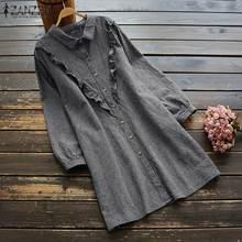 ZANZEA Women Casual Lapel Neck Plaid Check Blouses 2020 Vintage Cotton Linen Shirts