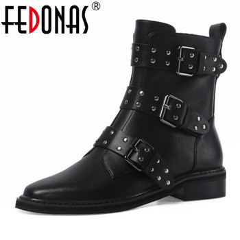 FEDONAS Punk Women Ankle Boots Genuine Leather Buckle Motorcycle Boots Night Club Shoes Woman New Autumn Winter Warm Short Boots