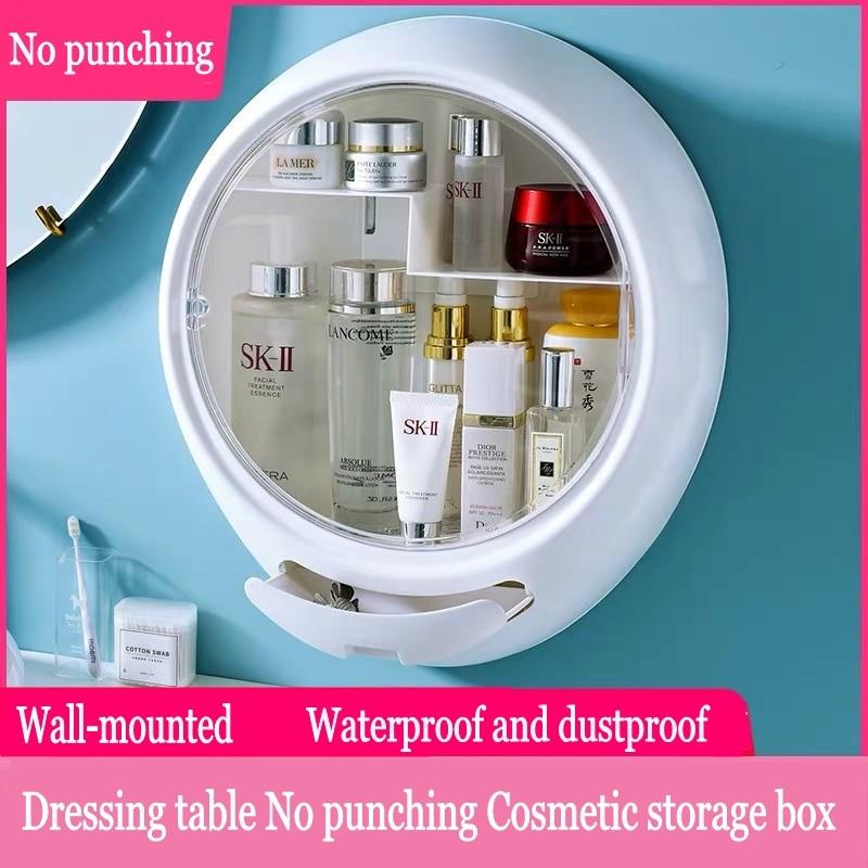 No Punching Wall-mounted Cosmetic Storage Box Waterproof And Dustproof Bathroom Organizer Beauty Toiletry Kits Makeup Box