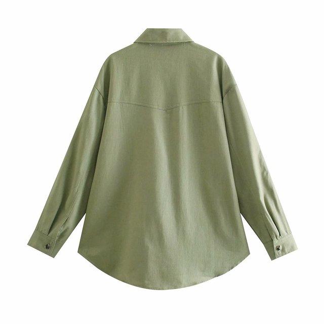 Toppies Green Cotton Shirt Jacket Button Down Loose Coat Women Long Sleeve Pockets Jacket Streetwear 2