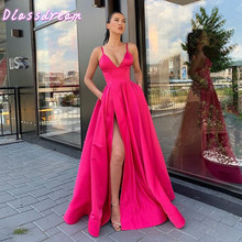 Prom-Gown Evening-Dresses Satin High-Split Pink Color Front Floor-Length Spaghetti-Straps