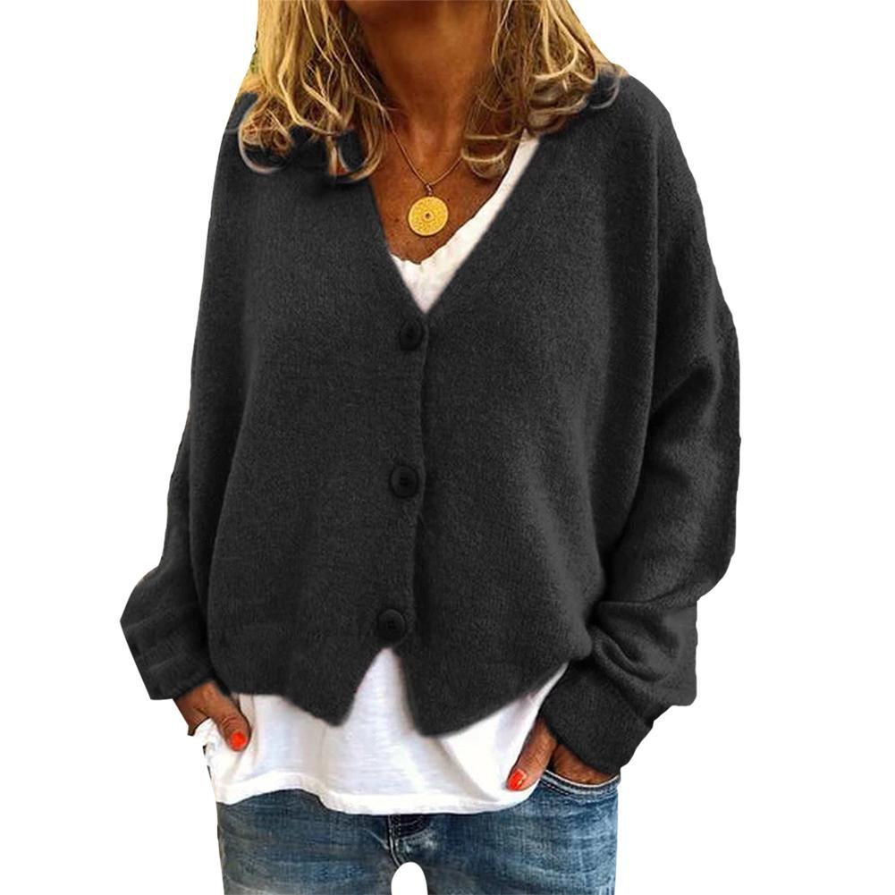 2019 Women Cardigan Sweater V Neck Solid Loose Knitwear Single Breasted Casual Knit Cardigan Outwear Winter Jacket Coat